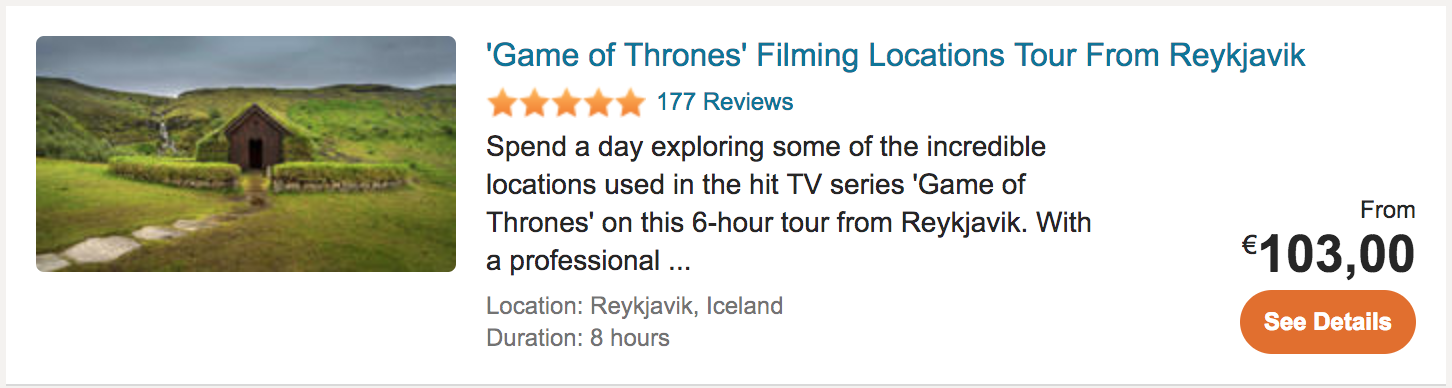 Game of Thrones Travel Tour Reykjavik