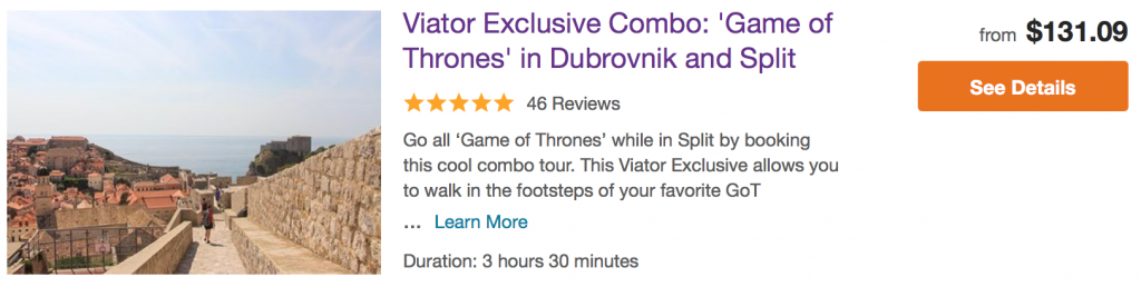 Game of Thrones Croatia Combo - Dubrovnik and Split