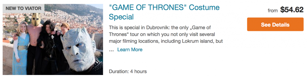 Game of Thrones costume special Dubrovnik